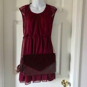 ToT Bundle Burgundy Glitter Dress-Bag-Bracelet